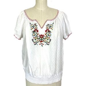 Embroidered peasant summer blouse